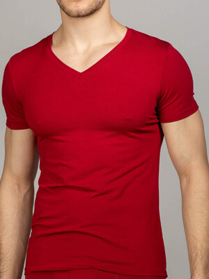 Men's V-neck t-shirt maroon