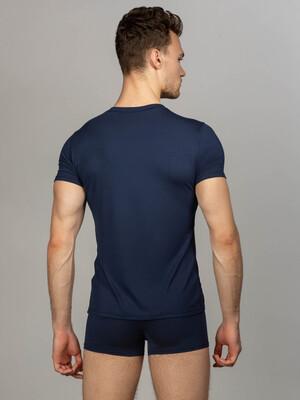 Комплект футболка с круглым вырезом, боксеры с закрытой резинкой, цвет темно-синий