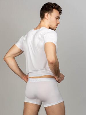 Комплект футболка с V-вырезом, боксеры с фирменной резинкой, цвет белый