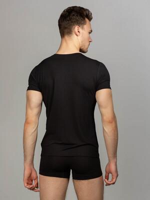 Комплект футболка с круглым вырезом, боксеры с закрытой резинкой, цвет черный