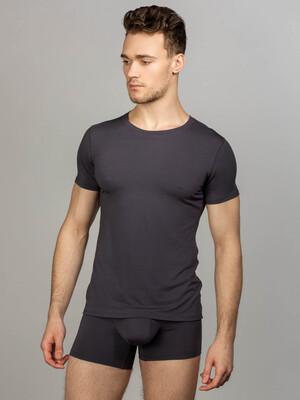 Комплект футболка с круглым вырезом, боксеры с закрытой резинкой, цвет серый
