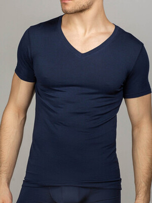 Мужская футболка синяя V-вырез