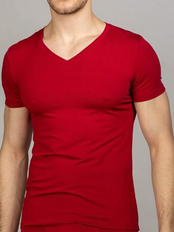 Мужская футболка бордовая V-вырез