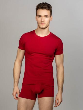 Комплект футболка с круглым вырезом, боксеры с закрытой резинкой, цвет бордовый